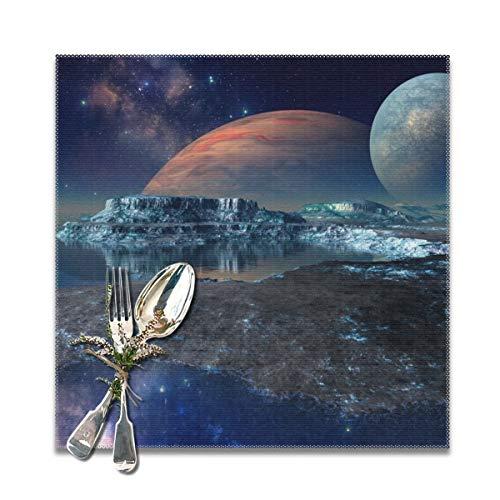 Houity Driedimensionale Rendering Van Oasis Interstellair Landschap Wasbaar Zacht Voor Keuken Diner Tafel MatPlacemats, Gemakkelijk Te Reinig Handige Opvouwbare Opslag Placemat 12x12 Inch Set Van 6