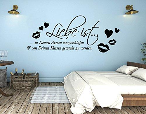 tjapalo® s-pkm287 Wandtattoo Schlafzimmer romantisch modern Wandsticker Liebe ist in deinen Armen einzuschlafen (B58 x H23 cm)