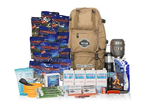 Comfort 4 - Überlebenstasche für 4 Personen - sichert eine Versorgung von 72 Stunden nach einer Katastrophe - mit hochwertigem Equipment, Essen und Trinken - inkl. Leuchten und Erste-Hilfe-Kit