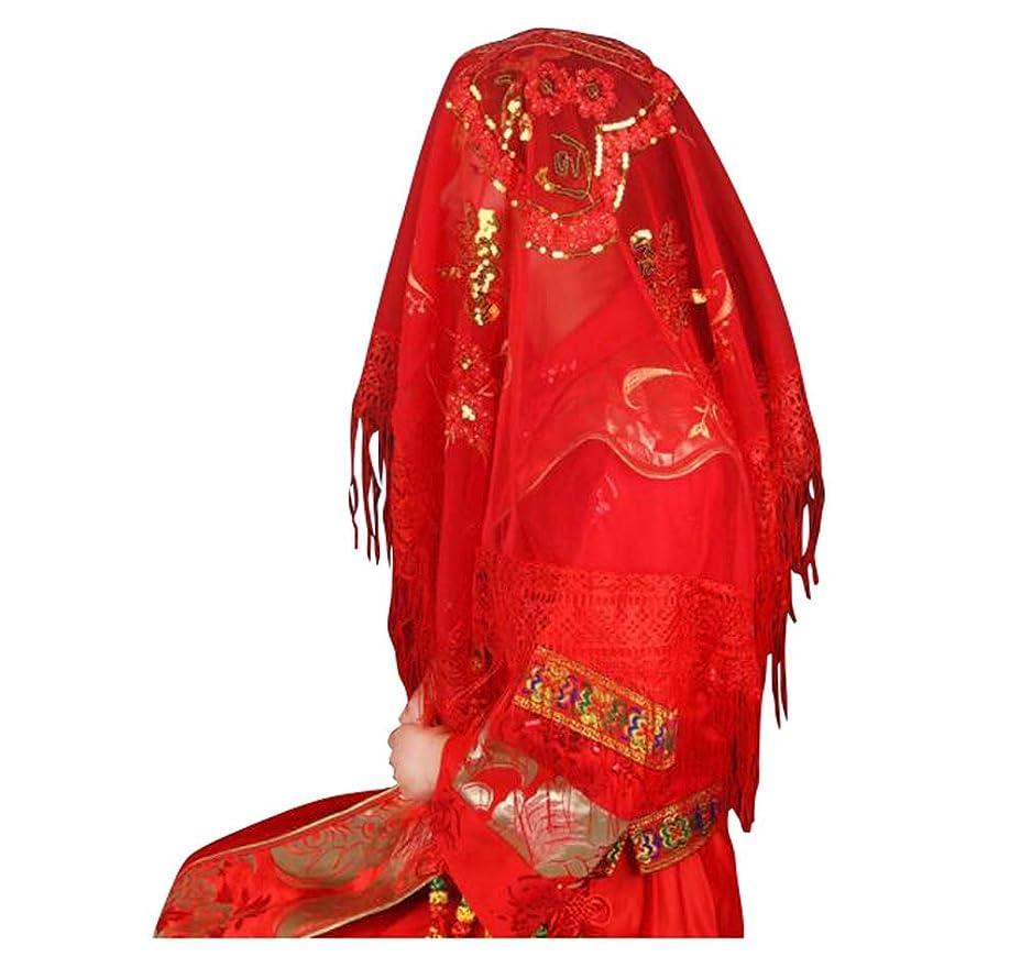 時期尚早パンチ偽善中国風のウェディング用品、ブライダルレッドサテン刺繍ベール、F01