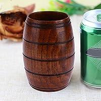□□□ウッドカップナチュラルクラシック手作りビッグベリービールコーヒーミルクジュースティーカップ、サイズ:11x6cm11 ANLUWEIAIHO