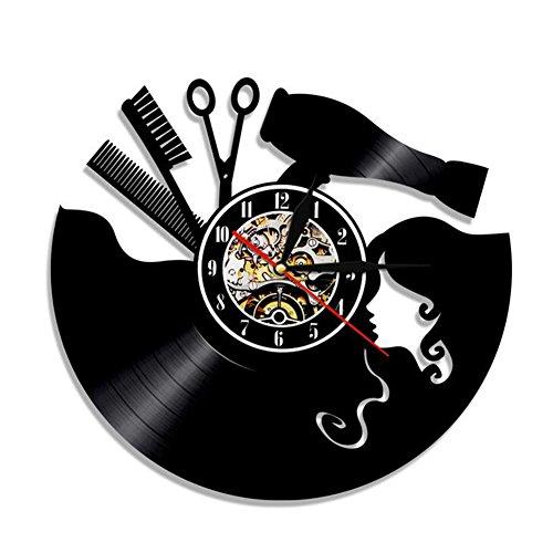 WANGXN Vinyle Horloge Murale Barber Outils De Cheveux Barber Barber Shop Outils De Coiffure Vinyle Record Bijoux Muraux Horloges Murales,Black,30Cm