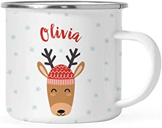 Andaz Press Personalized 11oz. Christmas Hot Chocolate Stainless Steel Campfire Coffee Mug Gift, Reindeer with Red Hat, 1-Pack, Custom Name Enamel Metal Camp Cup for Him Her, Includes Gift Box