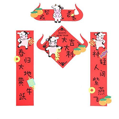 WeiX Bandera de Navidad,Coplas del Festival de,pareado del Festival de Primavera, Fieltro, pareados Chinos exquisitos, pareado del Festival, Accesorios de decoración de Puertas