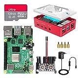 Raspberry Pi 4 Model B 8GB RAM Starter Kit, RPi Barebone con MicroSD Card 128GB, Tipo C Alimentatore 5.1V 3A, Ventola, 2 Micro HDMI, Raspberry Pi 4 Case Protettiva Rossa, Lettore di Scheda