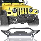 u-Box Jeep Wrangler Front Bumper w/Winch Plate & LED Lights & D Rings Rock Crawler for 1997-2006 Jeep Wrangler TJ - Different Trail