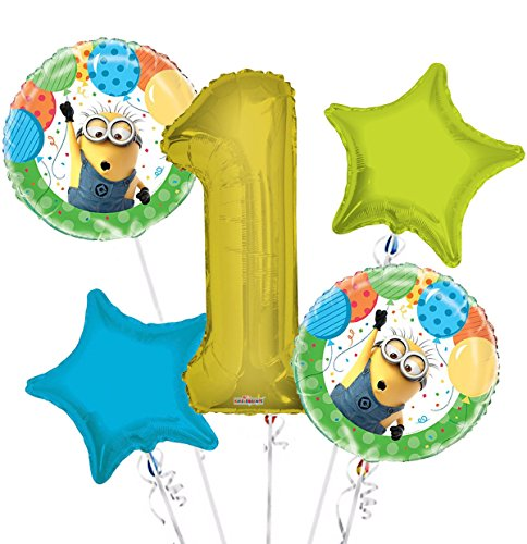 Minions Despicable Me Balloon Bouquet 1st Birthday 5 pcs - Party Supplies