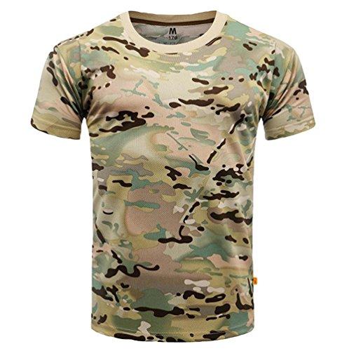 YuanDian Uomo Camuffare Maglietta Estate Casuale All'aperto Maniche Corte Leggero Asciugatura Veloce Traspirante Tattico Militare Camo Top Shirt CP M