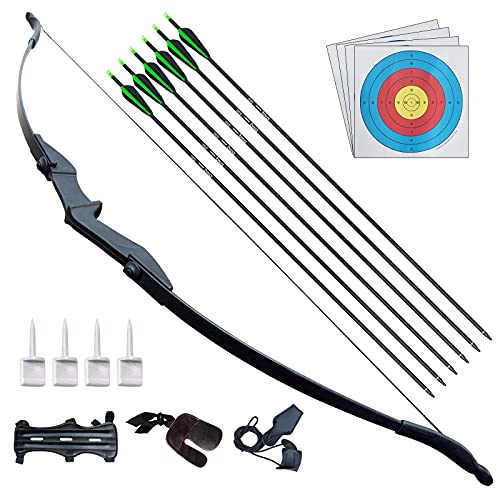D&Q Archery Bow and Arrow for Adults Beginner Takedown Recurve Bow Archery Set 30 40Lbs for Left and Right Handed Hunting Training Practice(30Lbs)
