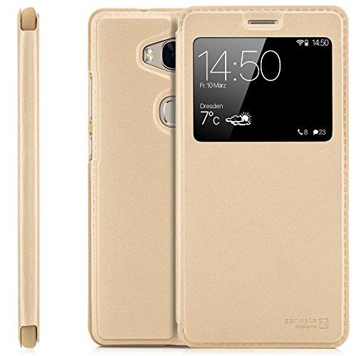 zanasta Tasche kompatibel mit Huawei Honor 5X (KIW-L21) Case Schutzhülle Flip View Cover mit Fenster und Kameraschutz | Gold