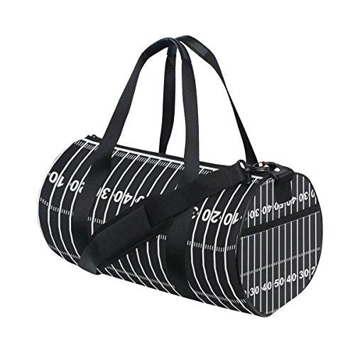 COOSUN American Football Field Schwarz Duffle Bag Handlich Sports Gym Bags Schultertasche für Männer und Frauen
