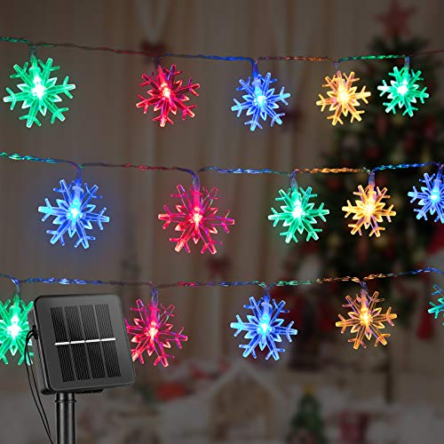 Snowflake Solar Decorations Lights, 50 Led 24.6 Feet Outdoor Waterproof Fairy Lights with 8 Lighting Modes for Wedding, Party, Tree, Room, Garden, Patio, Yard, Home(Multicolor)