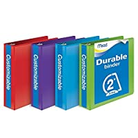 Mead 2 Inch Binder, D Ring Binder, Customizable, Assorted Colors, 4 Pack (W465-44APP) [並行輸入品]