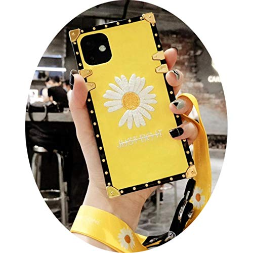 Luxury 3D embroidered daisy square silicone soft cover for iphone 11Pro MAX XS XR 7 8plus for Samsung S10 20plus Note10plus case,with Lanyard,for S8