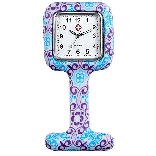 LANCARDO Uhren,Krankenschwester Armbanduhr FOB-Uhr Damen Taschenuhr Analog Quarzuhr aus Silikon, rosa Mehrfarbig (Rechteck 5pcs) (Typ 4)