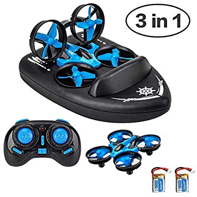 JJRC Mini Drone for Kids/Remote Control Boats for Pools and Lakes/2.4G Four-Axis RC Car 3 in 1 Sea-Land-Air Mode Switchable Waterproof Hovercraft Toy RC Quadcopter Perfect for Birthday Gift