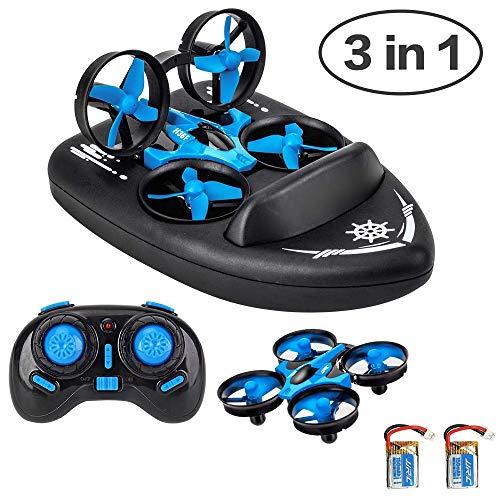 JJRC 3 en 1 Drone para Niños Hovercraft Juguete Niños Mini Barco Vehículo Eléctrico con Control Remoto Luz LED 2,4G,, Año Nuevo, Cumpleaños para Niños