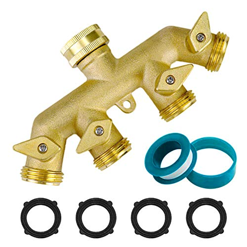 "Garden Hose Splitter 4 Way Tap, Heavy Duty Metal Hose Connector 3/4"", Outdoor Brass Faucet Splitter with 4 Valves, Plus 4 Extra Rubber Washers"