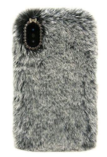3C Collection Cover iPhone X Pelosa Nero, Cover iPhone 10 Pelose, Cover Morbida e Peluche per iPhone X e iPhone 10 5.8inch Cover Peloso per Donne Carina