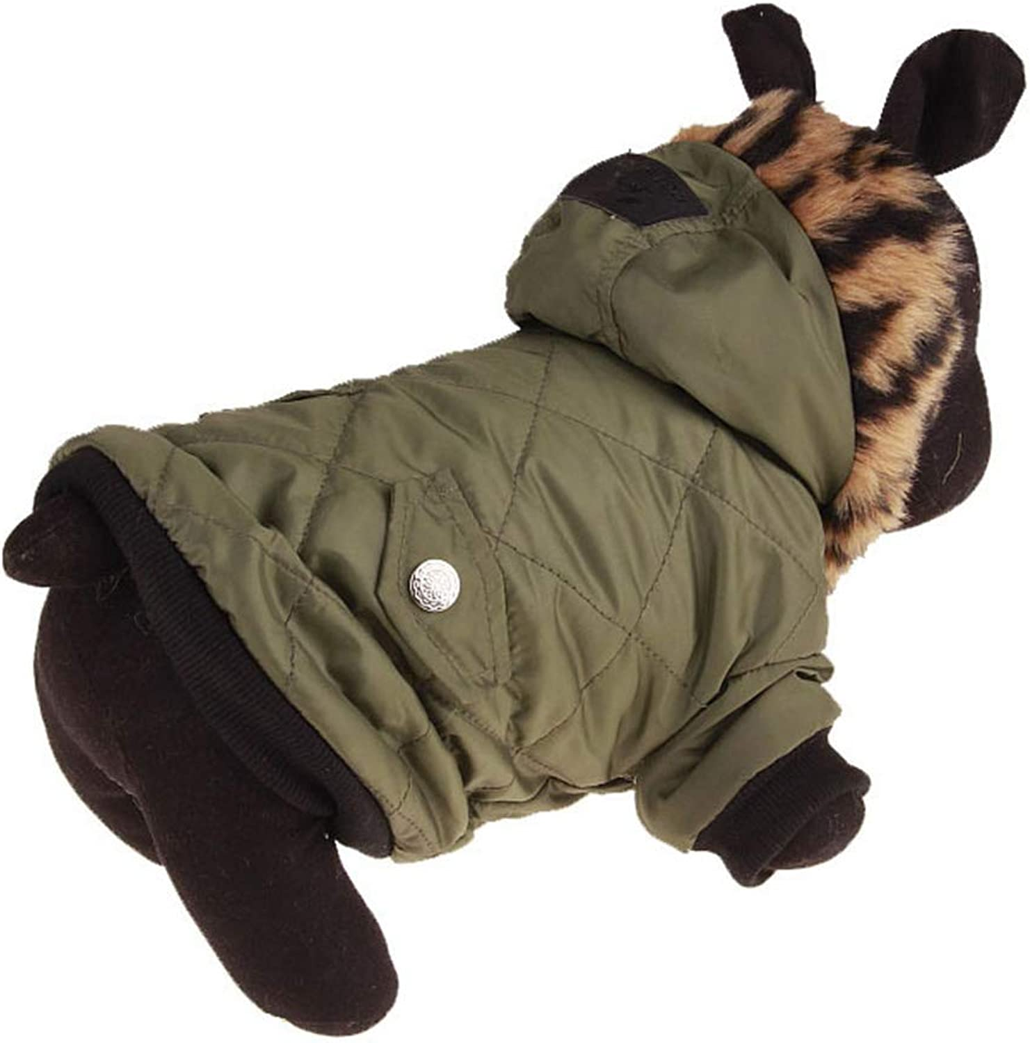 PETFDH Autumn Winter Clothes for Dogs Army Green Pet Coat for Small Dogs Puppy Overcoat Pet Dog Clothes Jackets Fur Collar Pet Costumes Army Green XS