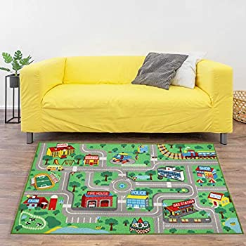Yincimar Kids Play Rug for Playroom 5.2x3.3 ft Town City Road Map Car Mat Play Mat Educational Learning Carpet Area Rug for Boy Girl Toddler Bedroom Playroom