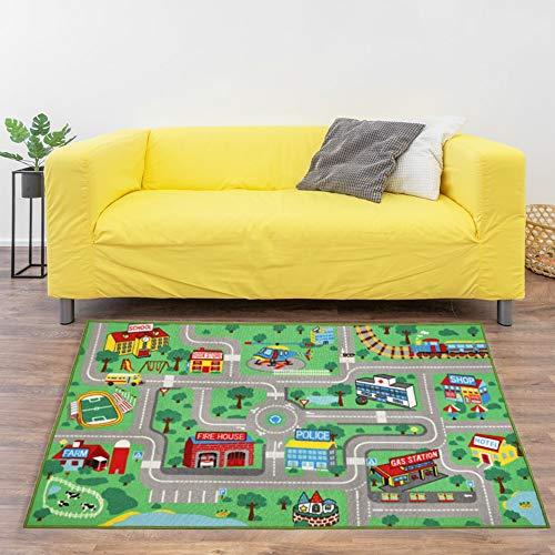 Capslpad Kids Play Rug for Playroom 5.2x3.3 ft Town City Road Map Car Mat Play Mat Educational Learning Carpet Area Rug for Boy Girl Toddler Bedroom Playroom