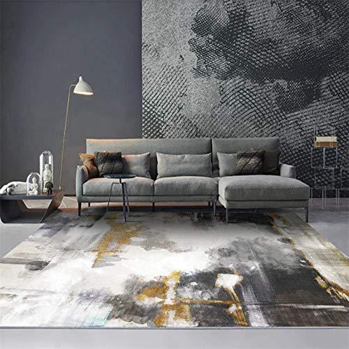 Super Soft Indoor Bereich Teppich Moderne Shaggy Teppich New Chinese Black Gold Ink Gemälde Küche Wohnzimmer Schlafzimmer Kinder Dekor Etage Wohnzimmer,160 * 230cm