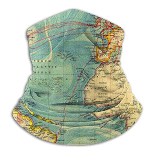 Vintage Style World Map Unisex Winter Fleece Neck Warm Gaiters Haarband Cold Weather Tube Gezichtsmasker Thermische Neck Scarf Outdoor UV-bescherming Party Cover