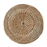 ASNSW Pestalini Intrecciati Rattan Fatti a Mano, tappetini da Tavolo Intrecciati Rotondi Naturali, tovagliette Tessere per Cena/tavolino da caffè, 27 cm (Color : Natural Wood Color)