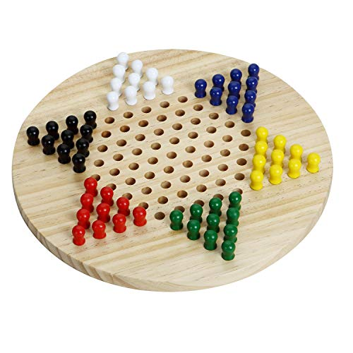 Win SPORTS Chinese Checkers Board - Wooden Game Classic Strategy Game & Fun for The Whole Family,Includes 60 Wooden Pegs in 6 Colors,Made with All Natural Wooden Materials (11.5 Inch)