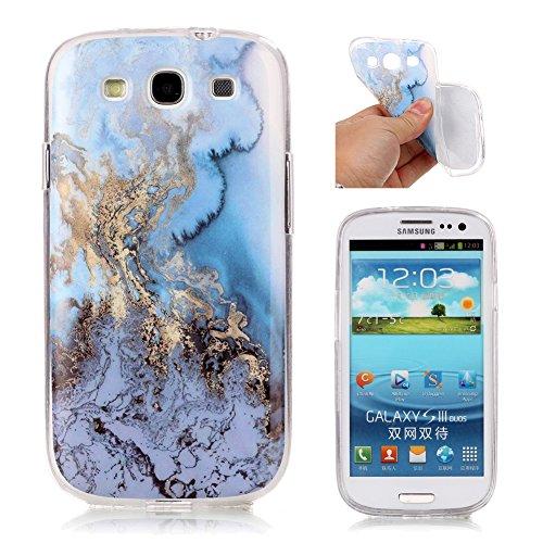 S3 Slim Schutzhülle, Aeeque Einfach Marmor Textur Design Handyhüllen Soft Klar Durchsichtig Rahmen Silikon Kratzfeste Flexibel Backcover Zurück Hülle Tasche für Samsung Galaxy S3 / S3 Neo - Blau Mee