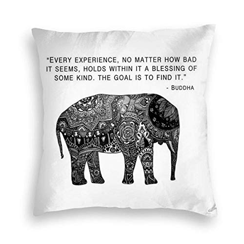 Pamela Hill Soft Pillow Case Black and White Decorated Elephant Decorative Square Pillow Case Sofa Bedroom Car Cushion Cover 45x45cm
