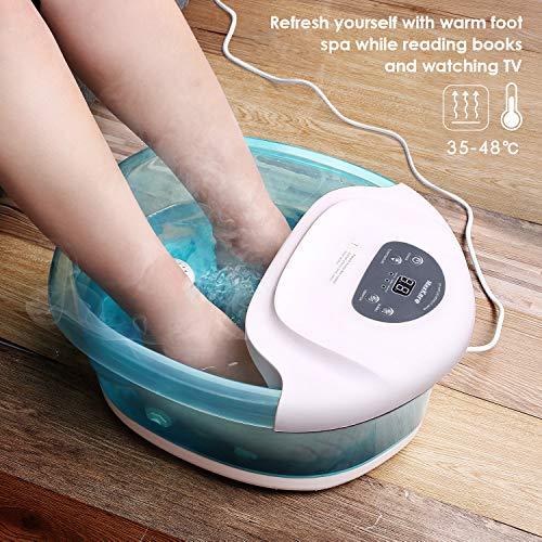 Bains de Pieds Appareil de Massage Chauffant et Vibrant avec des Bulles Foot Spa Thalasso Pieds, Délassant et Relaxant (Lac vert)