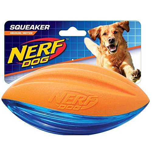 Hasbro Nerf Dog VP6795E Football - Schiuma TPR, 15,2 cm, Colore: Arancione/Blu
