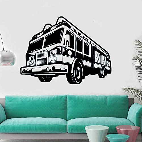 jiuyaomai Feuer Auto Wandtattoo Feuerwehrmann Wand Vinyl Aufkleber Auto Stil Wandmalereien Motor Feuerwehrmann Abnehmbare Tapete Eine weiße 77x57 cm