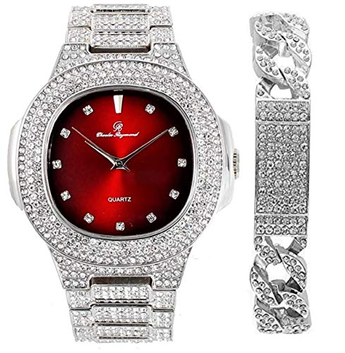 Bling-ed Out Blood Red Oblong Metal Mens Silver Watch with Cuban ID- 8475CI Silver/Red