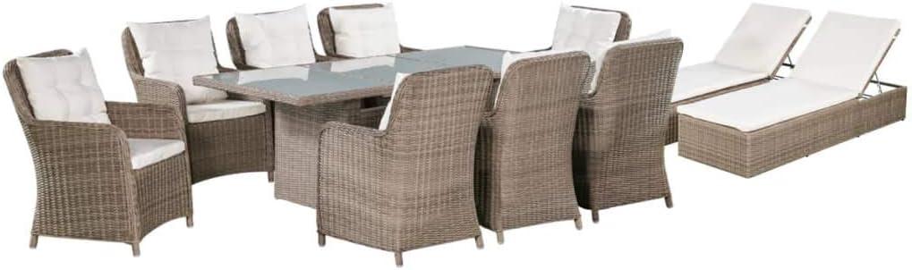 vidaXL Set Muebles de Jardín y Tumbonas 11 Piezas Muebles Exterior Cocina Hogar Terraza Mesa Silla Asiento Suave con Respaldo Ratán Sintético Marrón