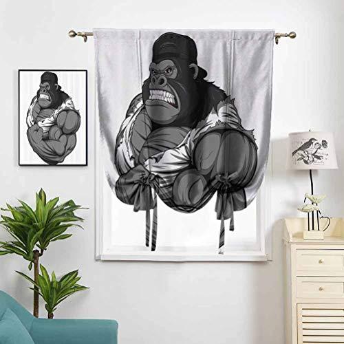 Dasnh Blackout Roman Curtains Tie Up Illustration of Big Gorilla Like W42 x L72 for Small Window