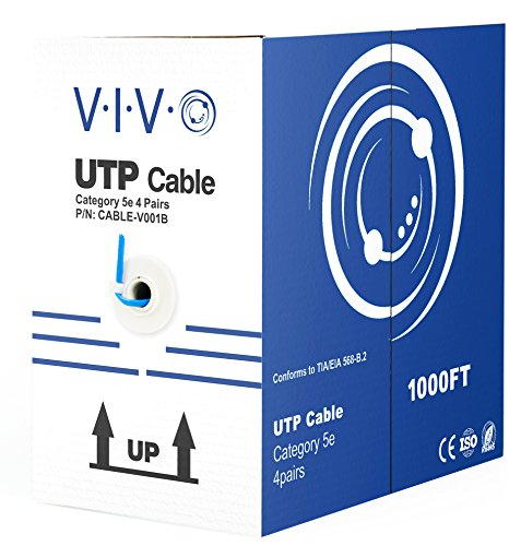 VIVO Blue 1,000ft Bulk Cat5e, CCA Ethernet Cable, 24 AWG, UTP Pull Box, Cat-5e Wire, Indoor, Network Installations CABLE-V001B