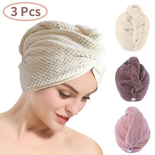 AMAYGA 3 Piezas de Toalla de Pelo de Microfibra Turbante,Ultra Absorbente Toallas para Secar Pelo con Botón,Pelo Gorro de Cabeza de Secar Rápido para Mujeres,Absorbentes de Agua Pelo Seco Sombreros