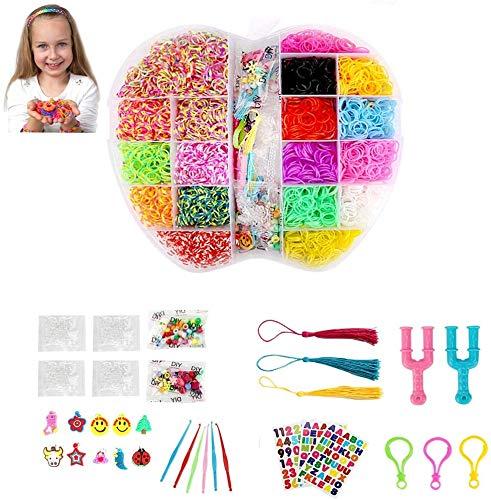 yidenguk kit banda loom, 5000 + loom il braccialetto che fa kit colorato wonder elastici bracciale fai da te kit di ricarica arcobaleno con 200 s fibbie, 80 perline, 10 silicone sospensioni di ragazze