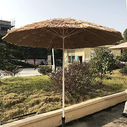 Paraguas de Paja de Rafia Hula Estilo Hawaiano de 7 pies / 2,15 m, sombrilla de Playa Hawaiana Hula de Tiki Hut UPF 50+, 12 Varillas, Color Natural