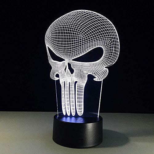 Ilusión óptica 3D Cráneo Placa de metacrilato ara 7 colores Interruptor USB Power Table Niños Juguetes Decoración Decoraciones Navidad San Valentín Regalo Regalo de cumpleaños