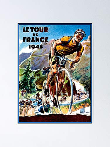 Tour De France Vintage Bicycle Racing Advertising Print Poster 12.75' X 17' Inch No Frame Board for Office Decor, Best Gift Dad Mom Grandmother and Your Friends