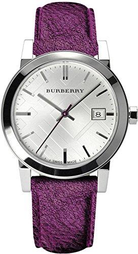 BURBERRY BU9122 - Reloj para Mujeres, Correa de Cuero Color púrpura