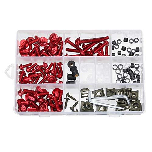 ZOYOSI 177pcs motocicleta carenado perno kit tuercas tornillos clips compatibles con Honda/Yamaha/Kawasaki/Suzuki - negro
