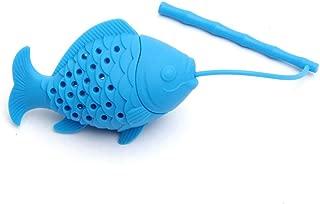 Funnyrunstore Kawaii Linda forma de pez Colador de té Silicona Interesante infusor de té Tetera de filtro para té Café Drinkware (azul)
