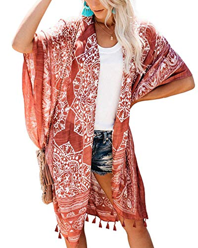 ASALWAYS Vrouwen Chiffon Cardigan Boheemse Print Bikini Cover Up Open Front Strandkleding Losse Kimono Tassel Beach Cover up