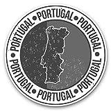 Awesome 40121 - Pegatinas de vinilo (juego de 2) 10 cm (bw), diseño de mapa de la bandera de Portugal, para portátiles, tabletas, equipaje, reserva de chatarras, frigorífico, regalo genial #40121