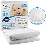 Sleeping Angel Waterproof Crib Mattress Protector Washable Organic Bamboo Cotton Noiseless Breathable Pad and Fitted Cover for Toddlers Infant Cribs